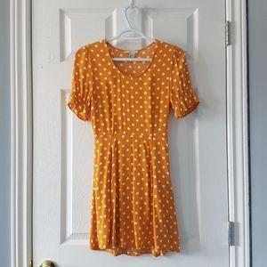 Mustard white polka dot mini a line dress XS-S